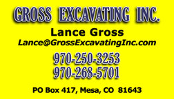 Gross Excavating Inc., excavation, dirt work, contractor, construction, based in Mesa Colorado